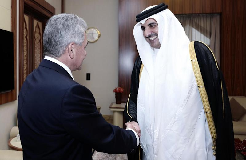 Emir Sheikh Tamim bin Hamad Al-Thani (right) receives Russian Minister of Defence Sergei Shoigu in Doha on October 25, 2017