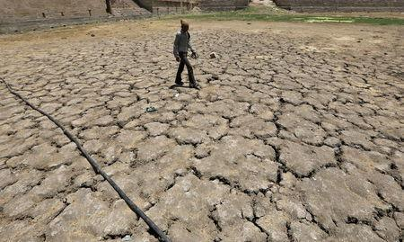 A man walks through a dried-up Sarkhej lake on a hot summer day in Ahmedabad, India, April 21, 2016. REUTERS/Amit Dave