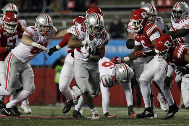Ohio State running back Steele Chambers (22) rushes against Rutgers during the second half of an NCAA college football game Saturday, Nov. 16, 2019, in Piscataway, N.J. Ohio State won 56-21. (AP Photo/Adam Hunger)