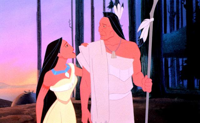 Pocahontas (Bedard) and her father, Powhatan (Russell Means). (Photo: Everett Collection)