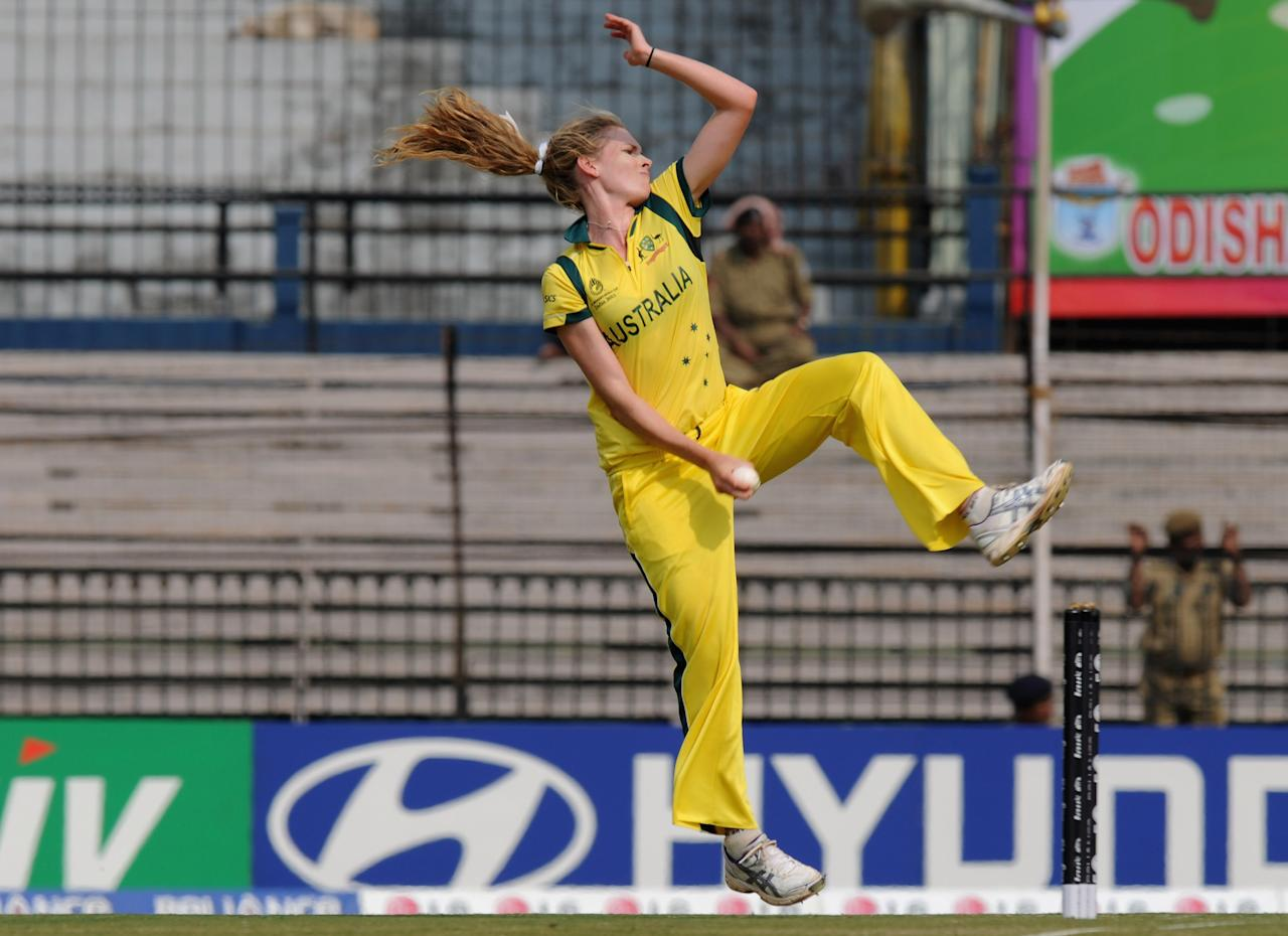 CUTTACK, INDIA - FEBRUARY 01:  Holly Ferling of Australia bowls during the second match of ICC Womens World Cup between Australia and Pakistan, played at the Barabati stadium on February 1, 2013 in Cuttack, India.  (Photo by Pal Pillai-ICC/ICC via Getty Images)