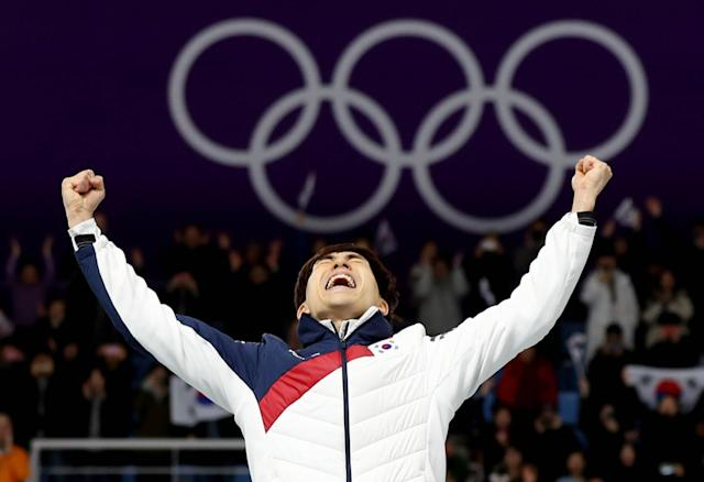 Speed Skating - Pyeongchang 2018 Winter Olympics - Men's Mass Start competition finals - Gangneung Oval - Gangneung, South Korea - February 24, 2018 - Gold medalist Seung-Hoon Lee of South Korea reacts during the victory ceremony. REUTERS/Lucy Nicholson