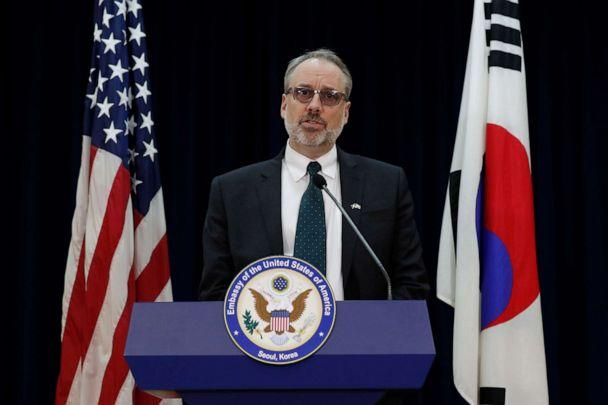 PHOTO: James DeHart, US Department of States senior advisor for security negotiations and agreements bureau of political-military affairs, speaks after a meeting with South Korean counterpart on the Special Measures Agreement in Seoul, Nov. 19, 2019. (Lee Jin-man/POOL/AFP via Getty Images)