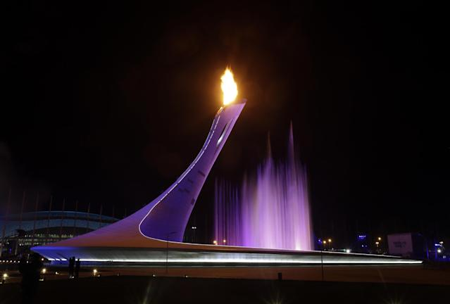 The Olympic Cauldron is lit during the opening ceremony of the 2014 Winter Olympics in Sochi, Russia, Friday, Feb. 7, 2014