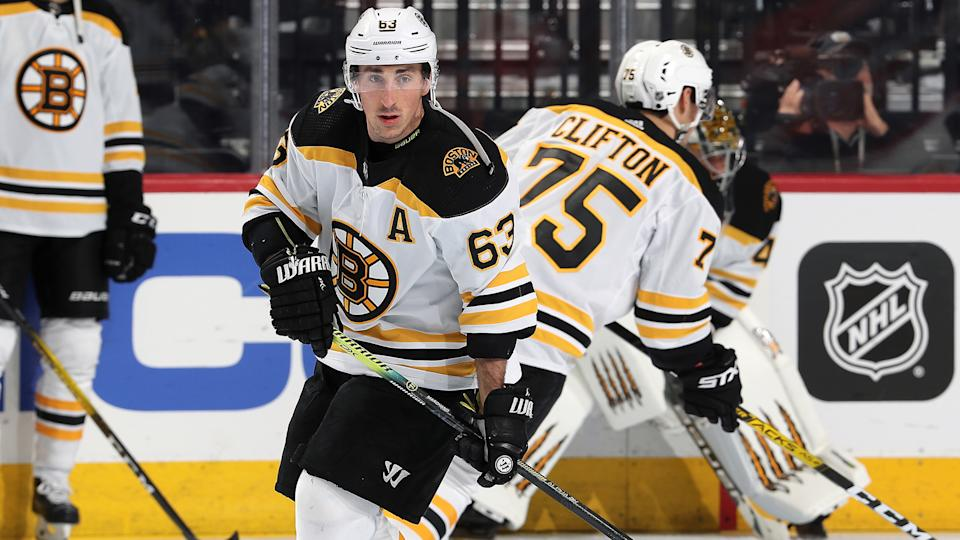 PHILADELPHIA, PA - MARCH 10:  Brad Marchand #63 of the Boston Bruins warms up against the Philadelphia Flyers on March 10, 2020 at the Wells Fargo Center in Philadelphia, Pennsylvania.  (Photo by Len Redkoles/NHLI via Getty Images)