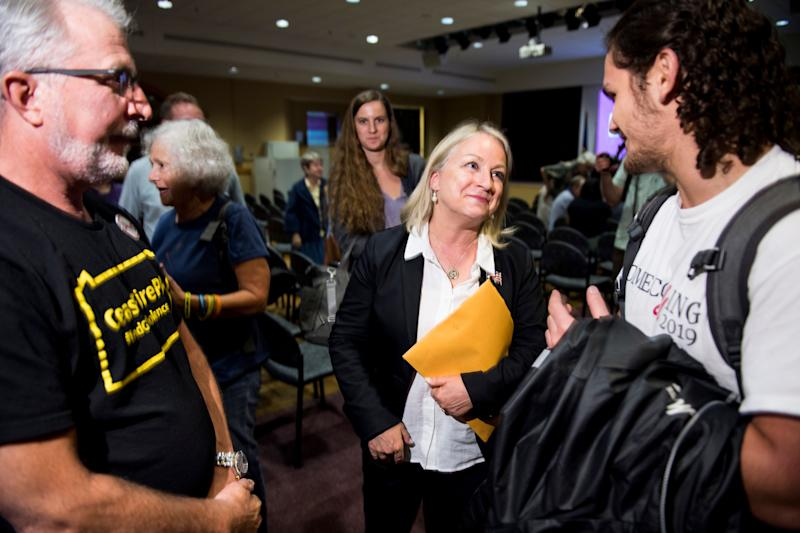 Rep. Susan Wild talks with constituents following a town hall meeting at Muhlenberg College in Allentown, Pennsylvania. The crowd was largely supportive of her decision to back an impeachment inquiry. (Photo: Bill Clark via Getty Images)