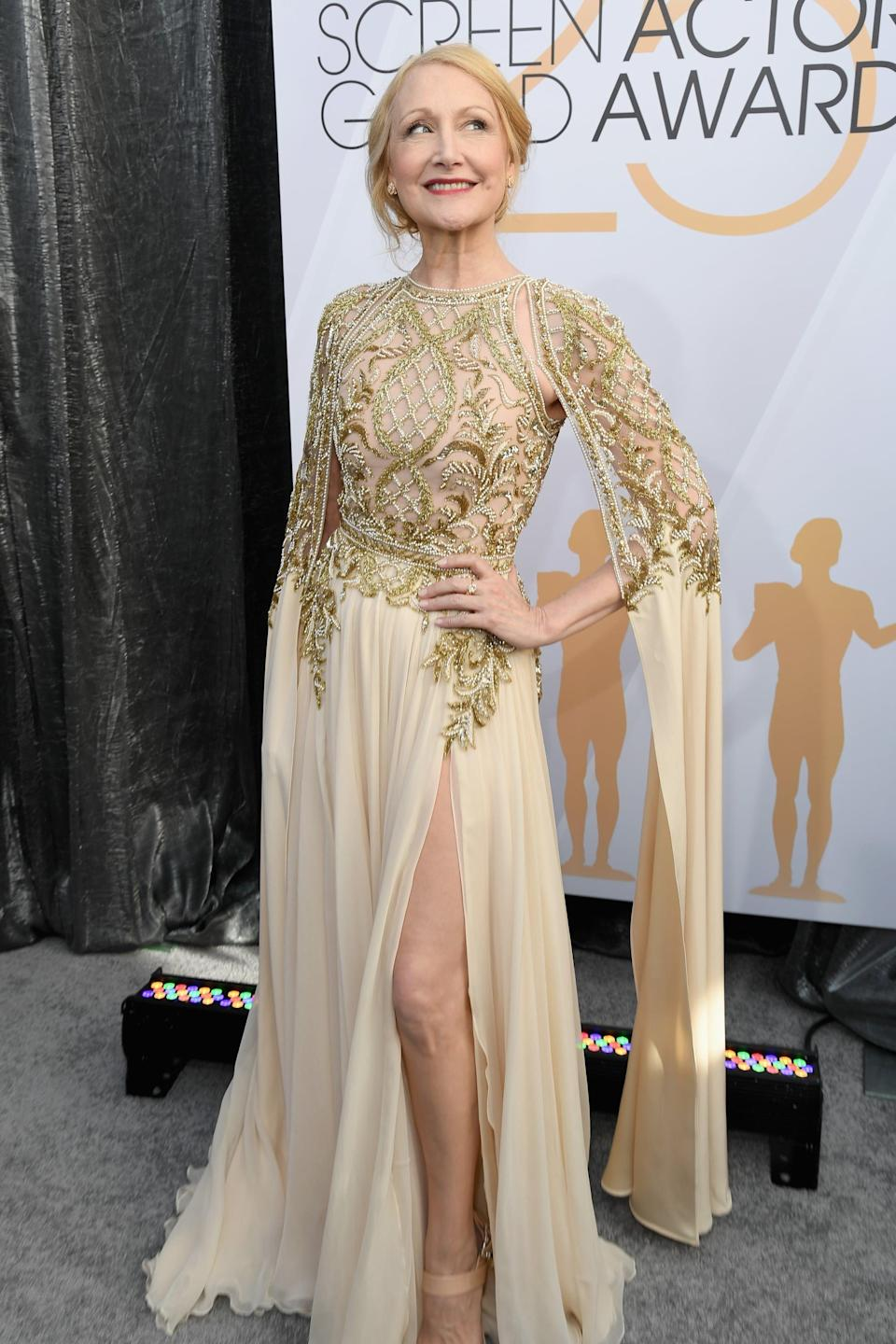 <p>Wearing a gold Zuhair Murad Couture gown with Piaget jewels and Giuseppe Zanotti heels.</p>
