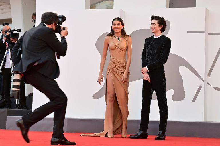 """Zendaya and Chalamet were among the cavalcade of stars in """"Dune"""", which got its world premiere playing out of competition in Venice (AFP/MIGUEL MEDINA)"""