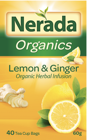 Nerada Organics Lemon and Ginger tea's packaging is pictured.