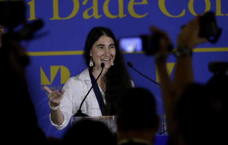 Blogger and activist Yoani Sanchez, of Cuba, speaks during a news conference at the Freedom Tower of Miami Dade College, Monday, April 1, 2013, in Miami. Sanchez has gained thousands of followers worldwide for her candid descriptions of modern life in Cuba on her blog Generation Y. (AP Photo/Lynne Sladky)