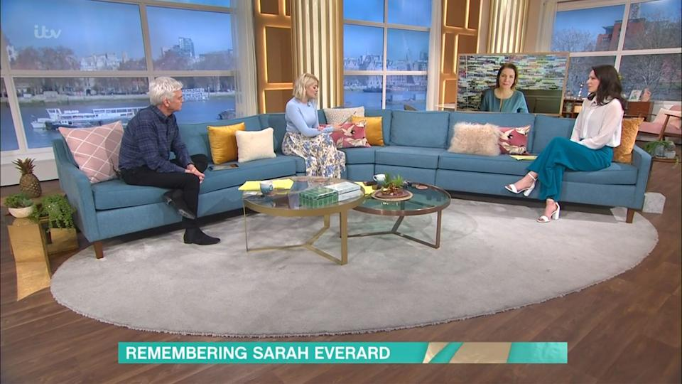 Mandatory Credit: Photo by ITV/Shutterstock (11800324ab) Phillip Schofield, Holly Willoughby, Julia Hartley-Brewer and Nicola Thorp 'This Morning' TV Show, London, UK - 15 Mar 2021