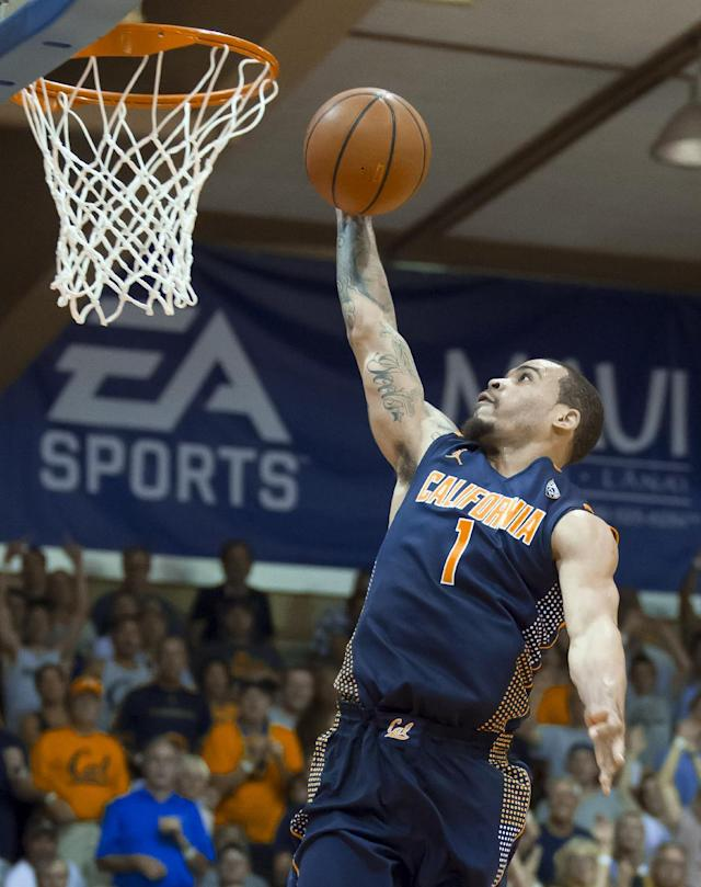 California guard Justin Cobbs (1) shoots a lay-up on a fast break against Syracuse in the second half of an NCAA college basketball game at the Maui Invitational on Tuesday, Nov. 26, 2013, in Lahaina, Hawaii. Syracuse won 92-81. (AP Photo/Eugene Tanner)