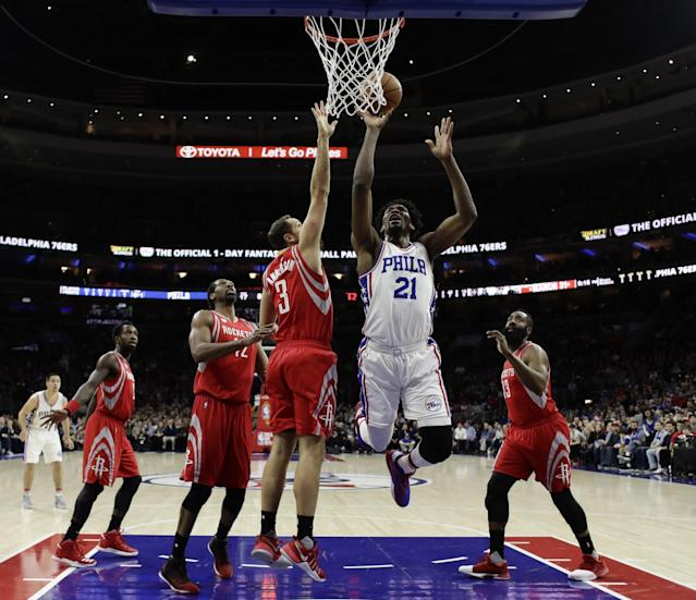 Joel Embiid has played just 31 games since being drafted in 2014. (AP)