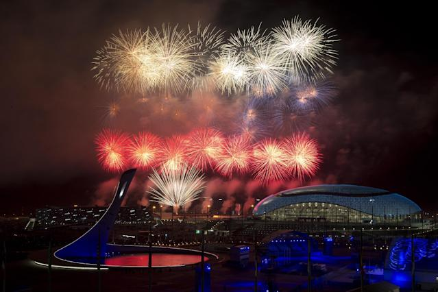 Fireworks explode over Olympic Park during the closing ceremony of the 2014 Winter Olympics, Sunday, Feb. 23, 2014, in Sochi, Russia. (AP Photo/Matt Slocum)