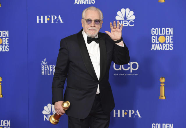 """Brian Cox poses in the press room with the award for best performance by an actor in a television series, drama for """"Succession"""" at the 77th annual Golden Globe Awards at the Beverly Hilton Hotel on Sunday, Jan. 5, 2020, in Beverly Hills, Calif. (AP Photo/Chris Pizzello)"""