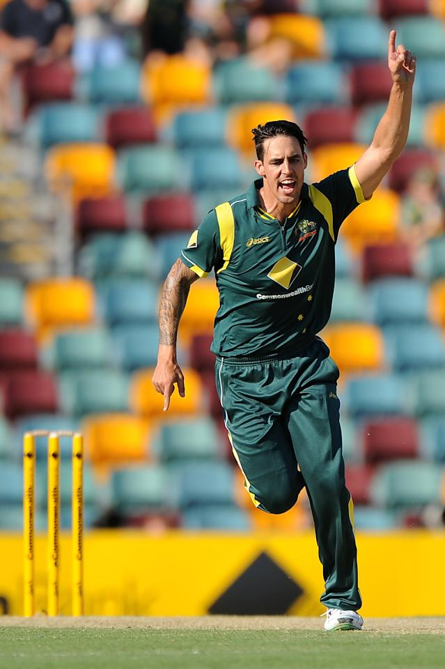 BRISBANE, AUSTRALIA - JANUARY 18:  Mitchell Johnson of Australia celebrates a wicket during game three of the Commonwealth Bank one day international series between Australia and Sri Lanka at The Gabba on January 18, 2013 in Brisbane, Australia.  (Photo by Matt Roberts/Getty Images)