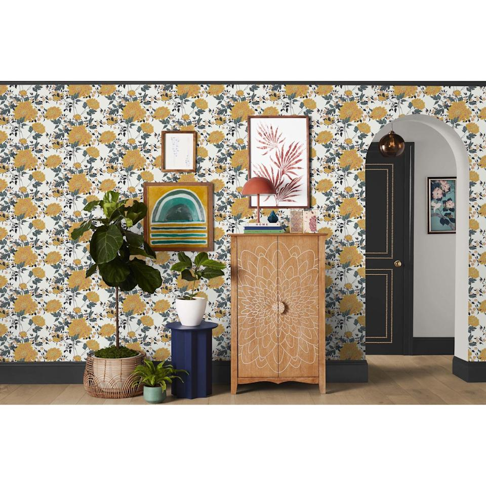 <p>Make a statement with this <span>Drew Barrymore Flower Home Vintage Floral Yellow Peel & Stick Wallpaper</span> ($35).</p>