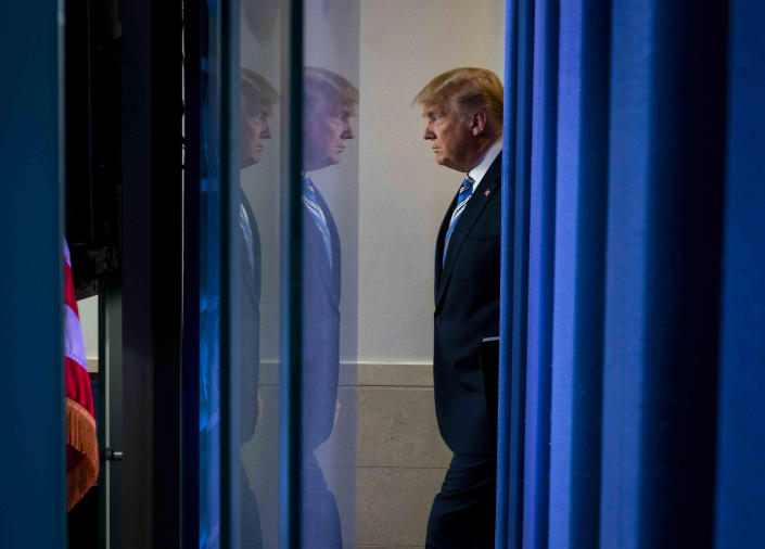 President Donald Trump before a coronavirus briefing at the White House in Washington, March 23, 2020. (Doug Mills/The New York Times)