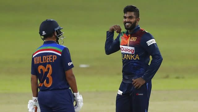 Wanindu Hasaranga, who celebrated his 24th birthday on Thursday, is all smiles in this photo and he has every reason to be. He finished the match with figures of 4/9, earning him the Man of the Match as well as the Man of the Series Award. He topped the bowling charts in T20 series with seven wickets. AP