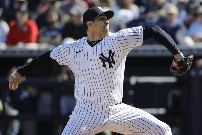 New York Yankees' Luis Cessa delivers a pitch during the fifth inning of a spring training baseball game against the Toronto Blue Jays Saturday, Feb. 22, 2020, in Tampa. (AP Photo/Frank Franklin II)