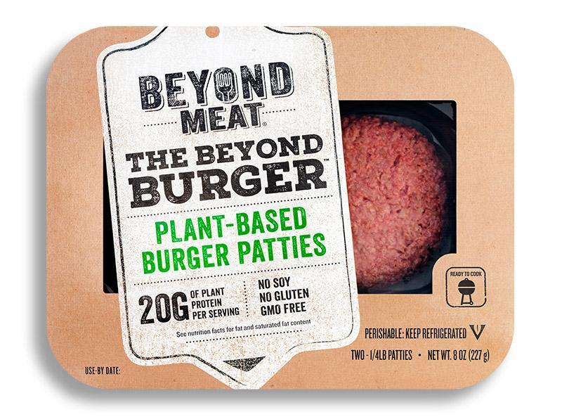 Beyond Meat plant-based burger patties packaged for retail.