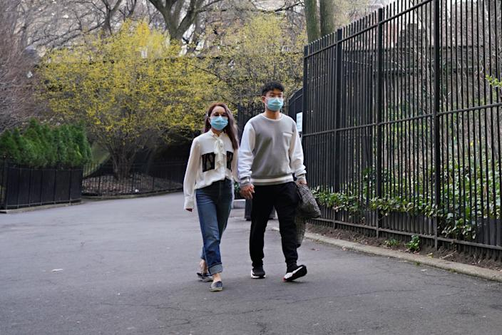 Walking in New York's Central Park on March 20, 2020.