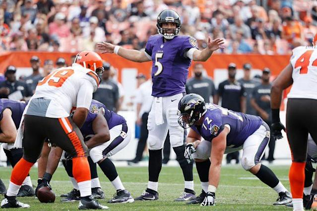 """<a class=""""link rapid-noclick-resp"""" href=""""/nfl/players/8795/"""" data-ylk=""""slk:Joe Flacco"""">Joe Flacco</a> is coming off an all-time season in pass attempts, but it meant little for fantasy purposes. (Photo by Joe Robbins/Getty Images)"""