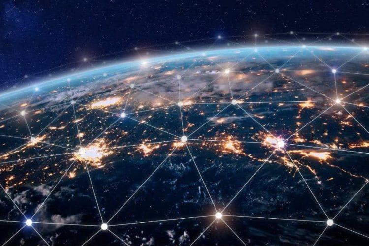 Dots over the earth connecting the world