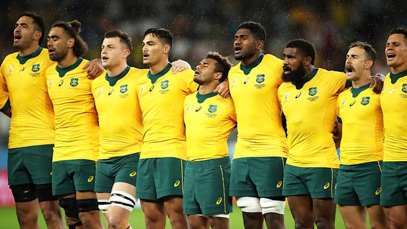 Pictured here, Australia's Wallabies at the 2019 Rugby World Cup.