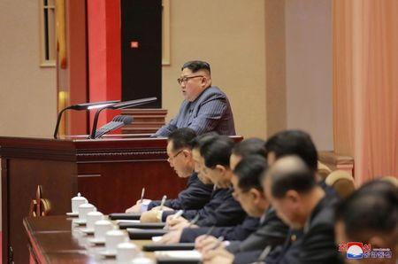 North Korean leader Kim Jong Un makes a speech at 5th Conference of Cell Chairpersons of the Workers' Party of Korea (WPK) on December 23 in this photo released by North Korea's Korean Central News Agency (KCNA) in Pyongyang December 24, 2017. KCNA/via REUTERS/Files