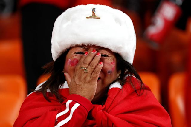 Soccer Football - World Cup - Group C - France vs Peru - Ekaterinburg Arena, Yekaterinburg, Russia - June 21, 2018 Peru fan looks dejected after the match REUTERS/Damir Sagolj