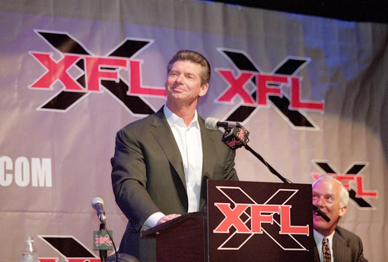 Vince McMahon has team names for his new XFL, which launches in 2020. (Getty Images)