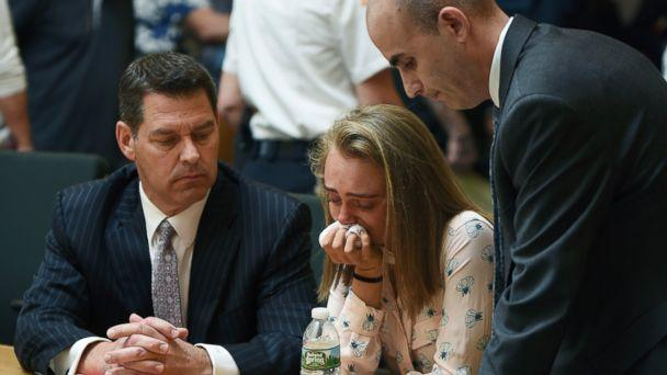 PHOTO: Michelle Carter cries while flanked by defense attorneys Joseph Cataldo, left, and Cory Madera, after being found guilty of involuntary manslaughter in the suicide of Conrad Roy III, June 16, 2017, in Bristol Juvenile Court in Taunton, Mass. (Glenn C.Silva/Fairhaven Neighborhood News via AP Photo)