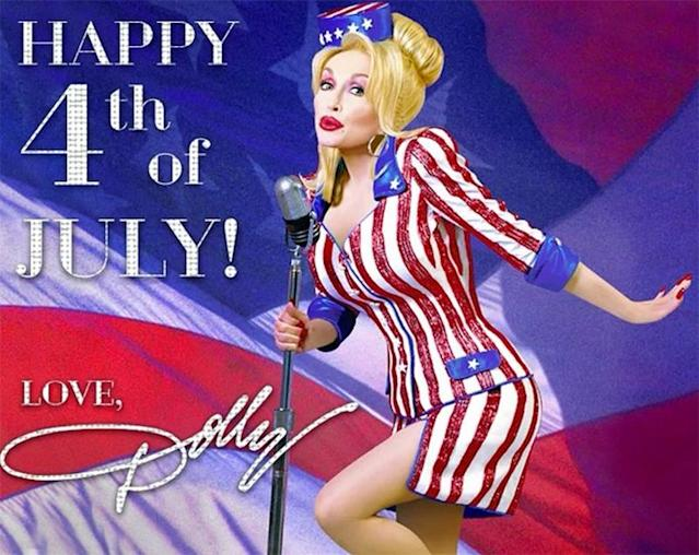 "<p>Dolly Parton wished her followers a ""safe and happy 4th."" (Photo: Dolly Parton <a href=""https://www.instagram.com/p/BWIQswGh6hQ/"" rel=""nofollow noopener"" target=""_blank"" data-ylk=""slk:via Instagram"" class=""link rapid-noclick-resp"">via Instagram</a>)<br><br></p>"