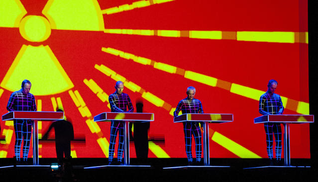 <p>Kraftwerk, nominated for <i>3-D The Catalogue</i>, helped to create the electronic genre more than four decades ago. This would be their first competitive Grammy, though they received a Lifetime Achievement Award in 2014. (Photo: Nick Pickles/WireImage) </p>