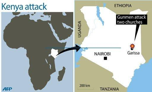 Gunmen killed 17 people and wounded dozens when they opened fire and hurled grenades into two churches in the eastern Kenyan town of Garissa, the latest in a string of attacks, police said