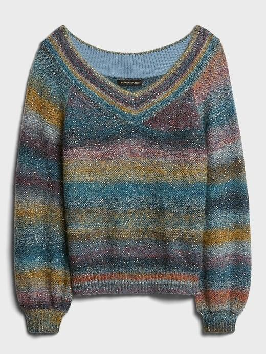 <p>Working at your window during daylight? The sun's golden hour is going to shine off of this <span>Banana Republic Ombré Sequin V-Neck Sweater</span> ($119). Your fabulousness will be blinding!</p>