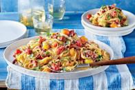 """<p><strong>Recipe: </strong><a href=""""https://www.southernliving.com/recipes/tomato-carbonara-recipe"""" rel=""""nofollow noopener"""" target=""""_blank"""" data-ylk=""""slk:Tomato Carbonara"""" class=""""link rapid-noclick-resp""""><strong>Tomato Carbonara</strong></a></p> <p>Serve this flavorful pasta dinner family-style for an easy weeknight meal.</p>"""