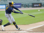 Milwaukee Brewers' Avisail Garcia (24) hits a double to drive in two runs against the Detroit Tigers during the second inning of a baseball game Wednesday, Sept. 9, 2020, in Detroit. (AP Photo/Duane Burleson)