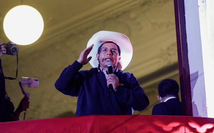 Pedro Castillo addresses his supporters in Lima - ANGELA PONCE/REUTERS