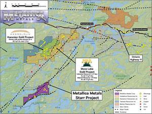Location of Metallica Metals' Starr gold-silver project with respect to adjacent properties including the Moss Lake gold deposit (sources: 2013 NI 43-101 Technical Report and PEA for the Moss Lake Project – see further reference details below; Kesselrun Resources October 7, 2020 news release)