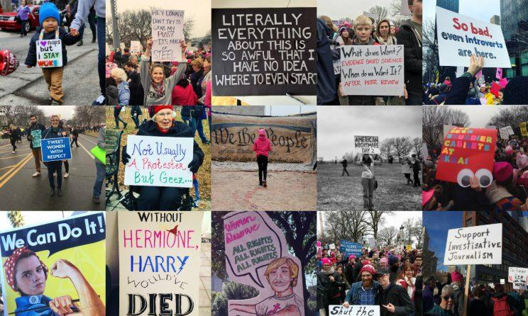 Protest signs were everywhere on Saturday. (Photos via Yahoo News, Getty, Reuters, Twitter and Instagram)