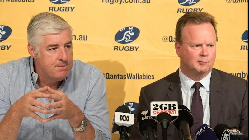 Australian Rugby Union chief executive Bill Pulver (right) will relinquish his role