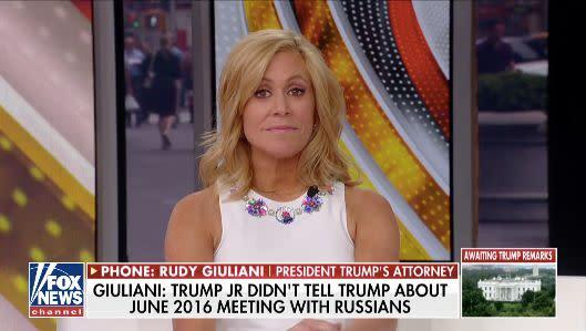 Fox News' Melissa Francis reacts to Rudy Giuliani's explanation for stating President Donald Trump wasn't at a meeting that allegedly never took place. (Photo: Fox News)