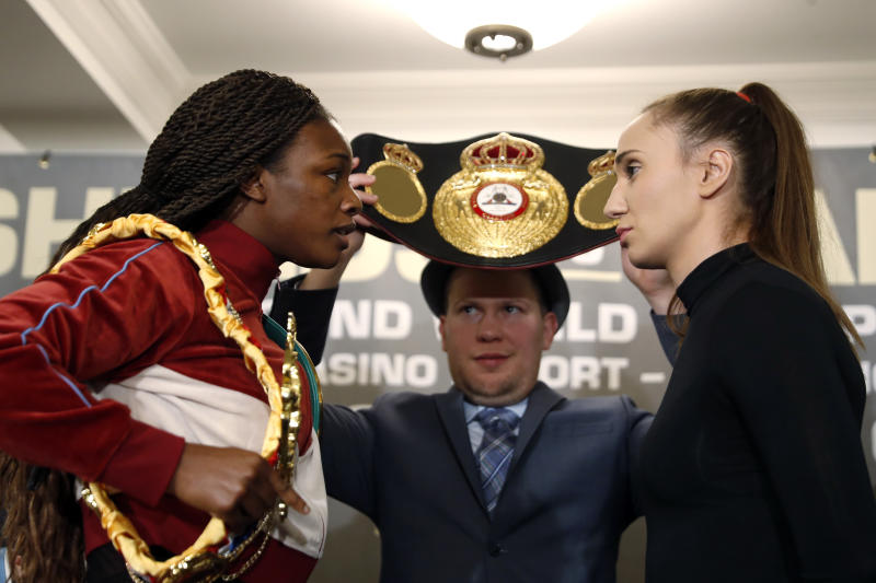 NEW YORK, NEW YORK - JANUARY 07: Claressa Shields and Ivana Habazin face off at a press conference at Hotel Plaza Athenee prior to their January 11th, 2020 WBO 154-pound title fight at the Ocean Casino Resort in Atlantic City, NJ on January 07, 2020 in New York City. (Photo by Michael Owens/Getty Images)