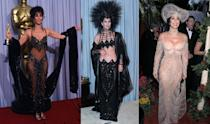 <p>Cher and Bob Mackie are a match made in fashion heaven. While Mackie's designs have given the Oscar winner some of her most memorable red carpet moments, these dramatic show-girl looks fail to hit the high notes on Hollywood's most elegant red carpet.</p>