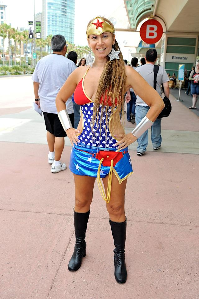 SAN DIEGO, CA - JULY 11:  Lana Powers dressed as Superwoman on preview night of 2012 Comic-Con at the San Diego Convention Center on July 11, 2012 in San Diego, California.  (Photo by Jerod Harris/Getty Images)