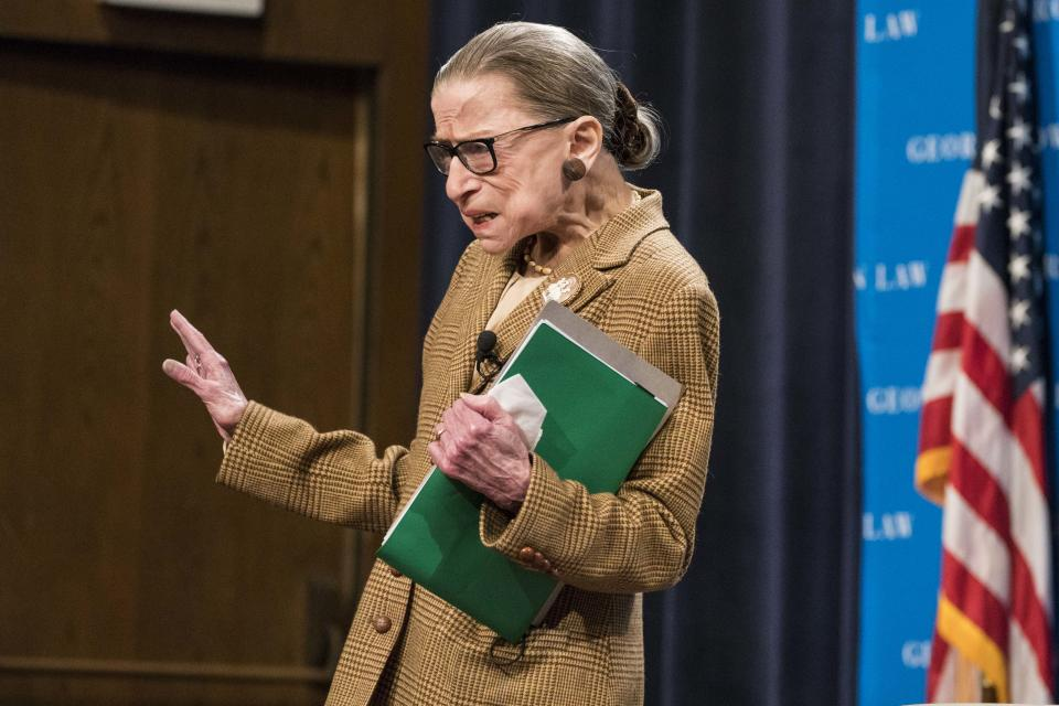 Supreme Court Justice Ruth Bader Ginsburg takes the stage for a discussion at the Georgetown University Law Center on February 10, 2020 in Washington, DC. (Sarah Silbiger/Getty Images)