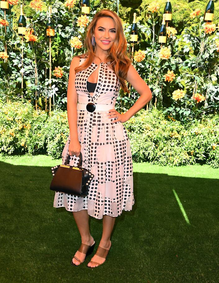 PACIFIC PALISADES, CALIFORNIA - OCTOBER 05: Chrishell Stause arrives at the 10th Annual Veuve Clicquot Polo Classic Los Angeles at Will Rogers State Historic Park on October 05, 2019 in Pacific Palisades, California. (Photo by Steve Granitz/WireImage)