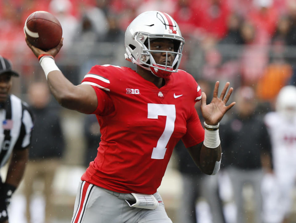 Ohio State quarterback Dwayne Haskins drops back to pass against Rutgers during the first half of an NCAA college football game Saturday, Sept. 8, 2018, in Columbus, Ohio. (AP Photo/Jay LaPrete)